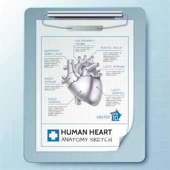 Medisch kladblok sjabloon met klembord en schets hart anatomie op lichte illustratie