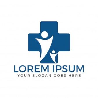 Medisch kruis- en menselijk karakterembleemontwerp. medisch en gezondheids logo.