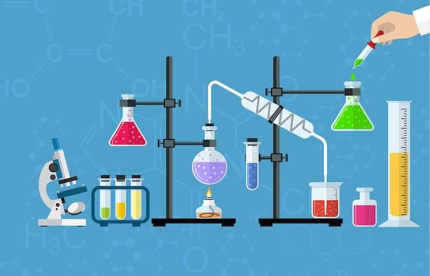 Medisch laboratorium. onderzoek, testen, studies in scheikunde, natuurkunde, biologie. labuitrusting