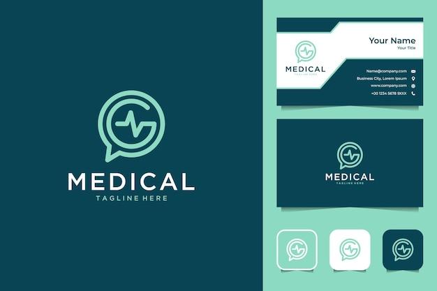 Medisch lijntekeningen logo-ontwerp en visitekaartje