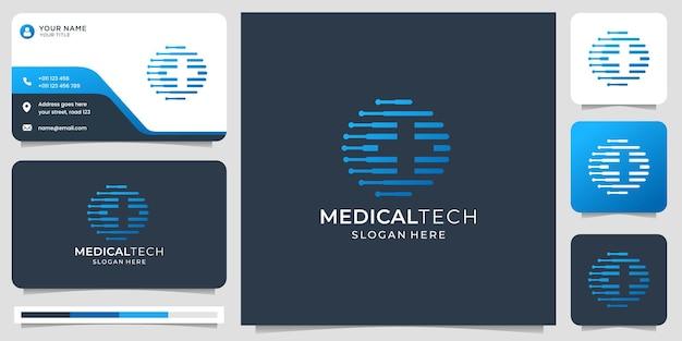 Medisch logo met modern technologieconcept. negatieve ruimte plus gezondheidslogo en visitekaartje.