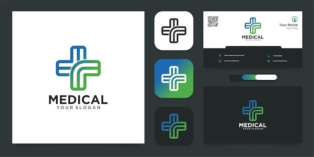 Medisch logo-ontwerp met lijn en visitekaartje