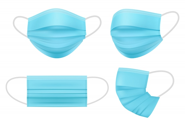 Medisch masker realistisch. hygiënemensen worden geconfronteerd met filterbescherming, artikelen voor infectiepreventie, instrumenten voor ziekenhuisisolatie