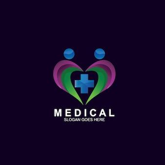 Medisch met hartvormig logo-ontwerp