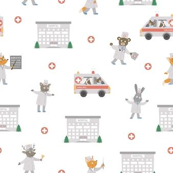 Medisch naadloos patroon met dieren