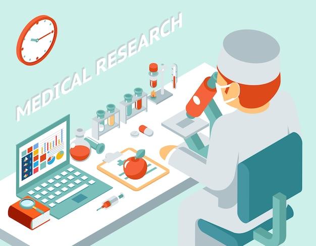Medisch onderzoek 3d isometrische concept. wetenschap chemisch product, geneeskunde en pil, vectorillustratie