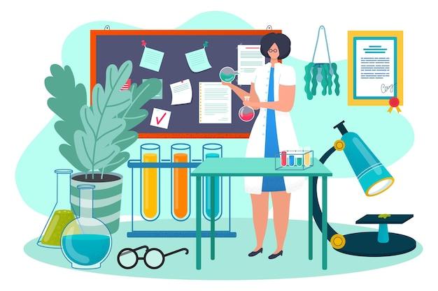 Medisch onderzoek bij laboratorium, vectorillustratie. geneeskunde wetenschap chemie, wetenschapper vrouw karakter gebruik lab reageerbuis voor biologie analyse.