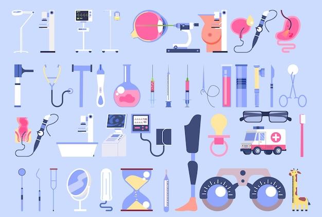 Medisch onderzoek en diagnostische apparatuur set. medische specialist