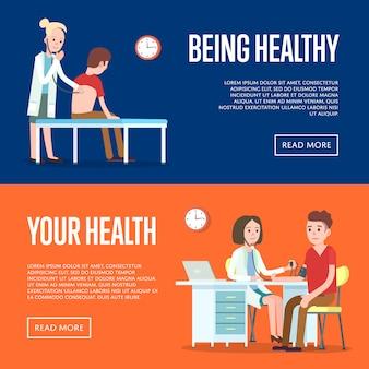 Medisch onderzoek en gezondheidszorg banner set