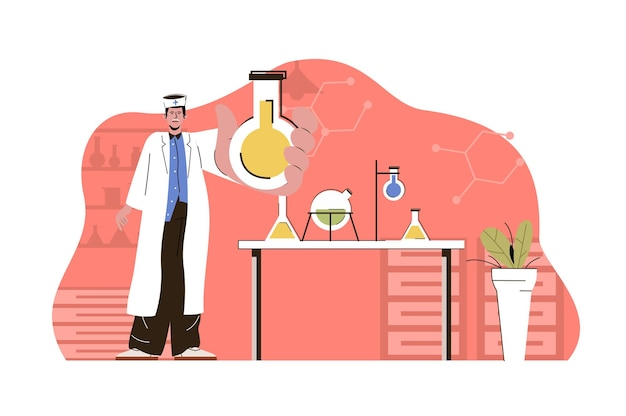 Medisch onderzoeksconcept laboratoriumassistent voert tests uit in kolven in het laboratorium