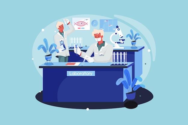 Medisch onderzoeksteam dat medische testen in het laboratorium doet