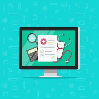 Medisch online onderzoeksrapport desktop op computer of verzekeringsdocument op pc