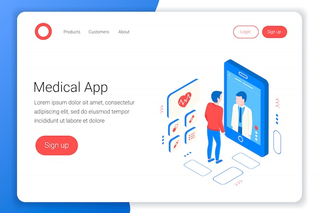 Medisch overleg isometrisch concept. dokter praat met de patiënt via het scherm. online diagnostiek. online medische applicatie. flat 3d-stijl. landingspagina sjabloon. illustratie.