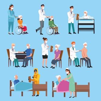 Medisch personeel dat oudere personages beschermt