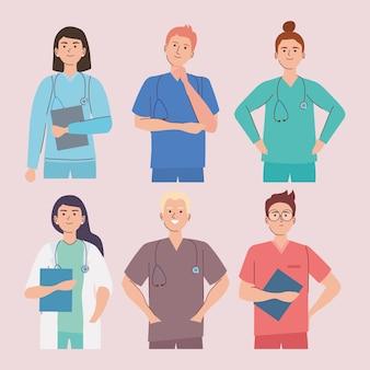 Medisch personeel dat uniformen gebruikt