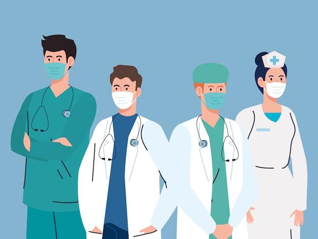 Medisch personeel dragend medisch masker tegen pandemie