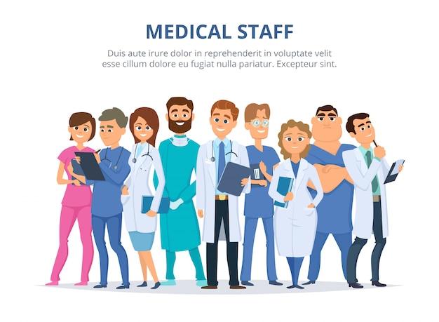 Medisch personeel, groep mannelijke en vrouwelijke artsen