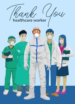 Medisch personeel met dank u groet