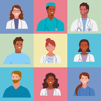 Medisch personeel negen karakters