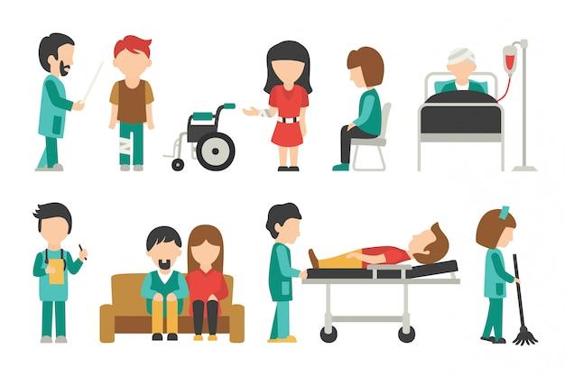 Medisch personeel plat, geïsoleerd op een witte achtergrond, arts, verpleegkundige, zorg, mensen vector illus