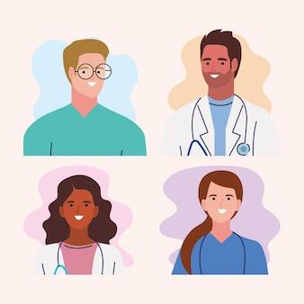 Medisch personeel vier karakters