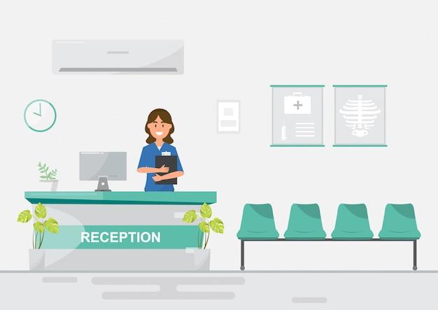 Medisch personeel vrouwen in receptie ziekenhuis op vlakke stijl.
