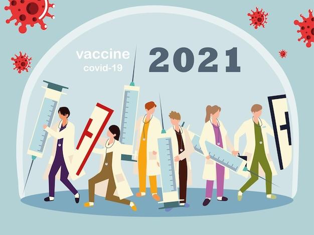 Medisch personeel werkt hard om te vechten, vaccinillustratie