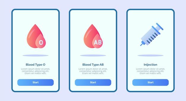 Medisch pictogram bloedgroep o bloedgroep ab injectie voor mobiele apps sjabloon banner pagina ui Premium Vector