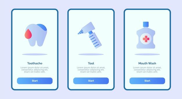 Medisch pictogram kiespijn hulpmiddel mondwater voor mobiele apps sjabloon banner pagina ui