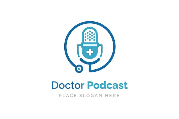 Medisch podcast-logo-ontwerp. stethoscoop en microfoon illustratie symbool.