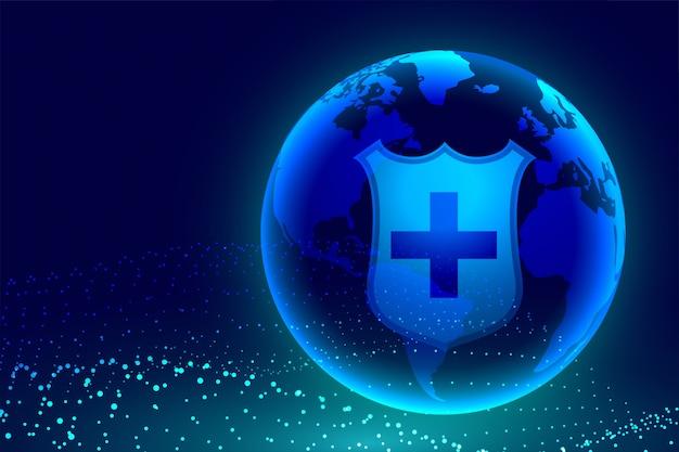 Medisch schild dat aarde beschermt tegen wereldwijde crisis