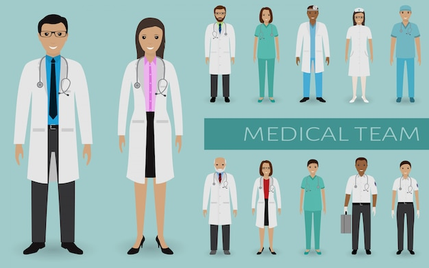 Medisch team. artsen en verpleegkundigen staan samen. geneeskunde webbanner. ziekenhuispersoneel.