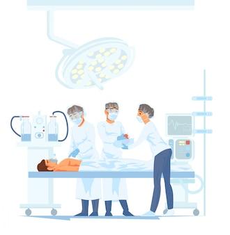 Medisch team dat chirurgische verrichting in moderne werkende ruimte uitvoert