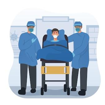 Medisch team dat patiënt met brancard naar het ziekenhuis brengt