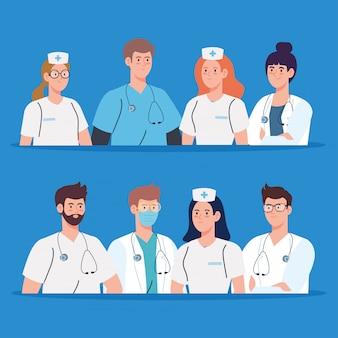 Medisch team en personeel, verpleegsters en artsenillustratieontwerp