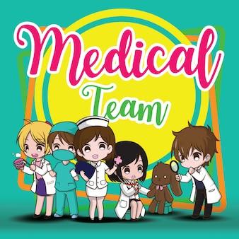 Medisch team,. leuke cartoon karakter arts.
