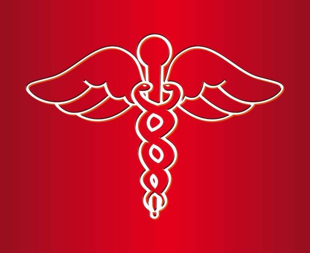 Medisch teken over rode achtergrond vectorillustratie
