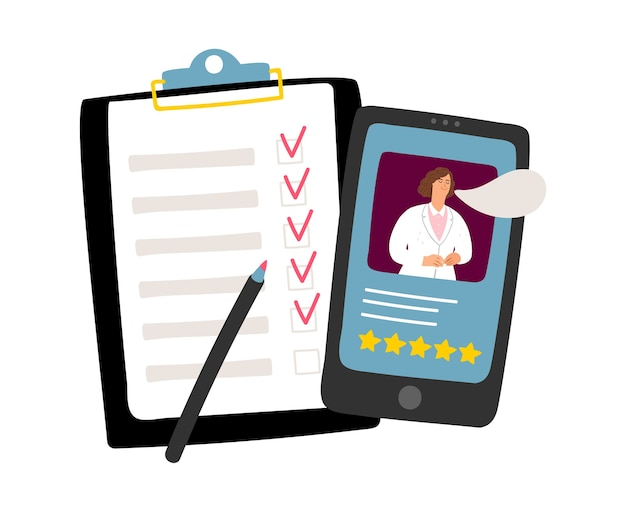 Medisch telefonisch consult. online arts, noodoproepconcept. medische documenten invullen, medisch assistent