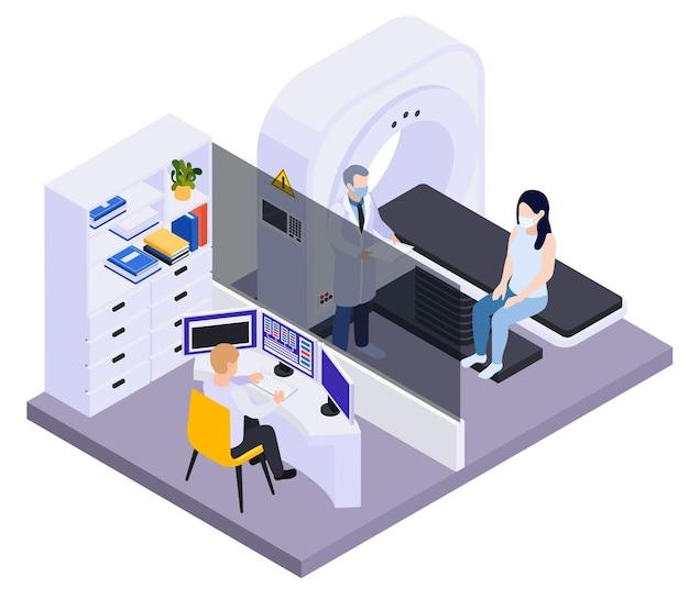 Medisch testen van patiënt in kliniek met behulp van high-tech apparatuur zoals computertomograaf isometrische compositie illustratie