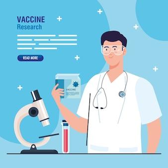 Medisch vaccinonderzoek, arts met laboratoriuminstrumenten in ontwikkeling coronavirus covid19-vaccin.