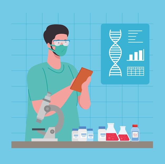 Medisch vaccinonderzoek coronavirus, arts in laboratorium voor medisch vaccinonderzoek en educatieve microbiologie voor covid19-illustratie