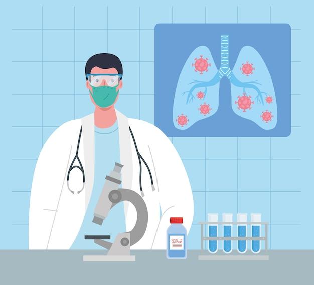 Medisch vaccinonderzoek coronavirus, dokter mannetje in laboratorium voor medisch vaccinonderzoek en educatieve microbiologie voor covid19 illustratie