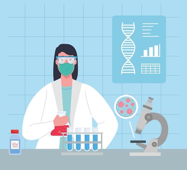 Medisch vaccinonderzoek coronavirus, vrouwelijke arts in laboratorium voor medisch vaccinonderzoek en educatieve microbiologie voor covid19-illustratie
