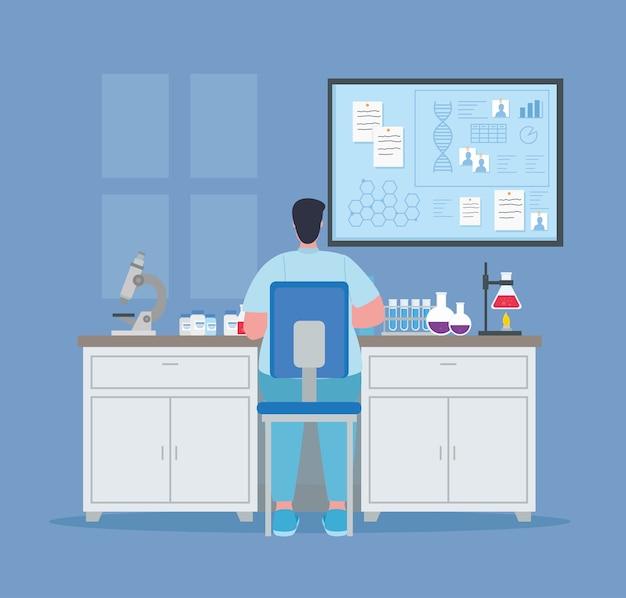 Medisch vaccinonderzoek, dokter mannetje in laboratorium voor wetenschappelijke viruspreventie studie illustratie