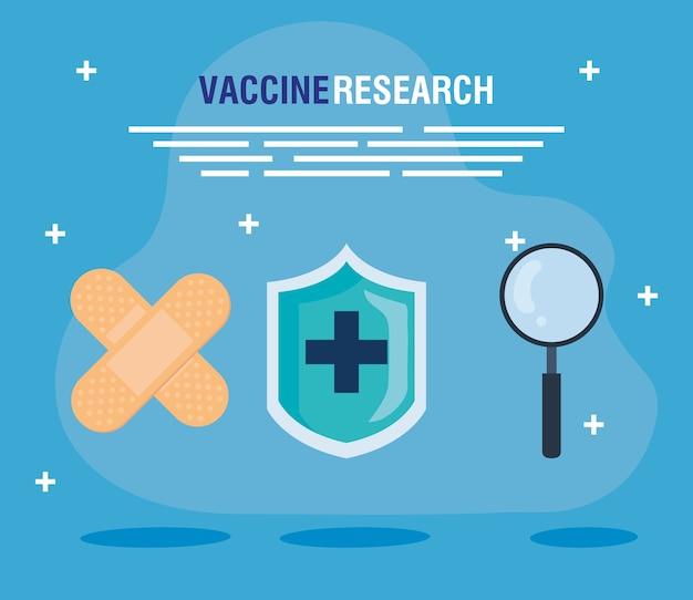 Medisch vaccinonderzoek, met genezingsbanden, schild en vergrootglas, wetenschappelijke viruspreventie studie illustratie