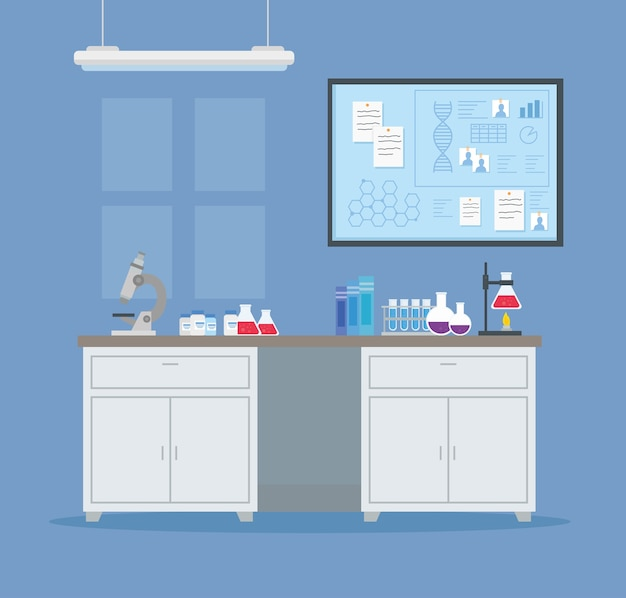 Medisch vaccinonderzoek, scène van laboratorium, voor wetenschappelijke illustratie van de studie van viruspreventie