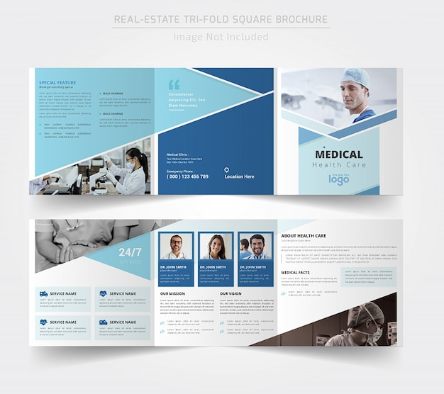 Medisch vierkant driebladig brochureontwerp