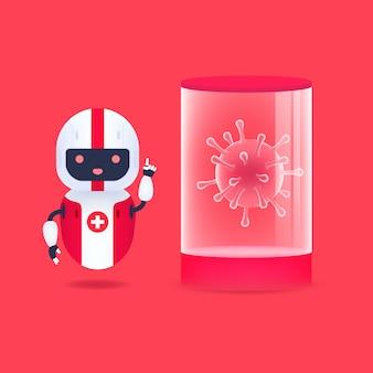 Medisch vriendelijke android-robot met corona-virusbacteriën in quarantaine en reageerbuis.