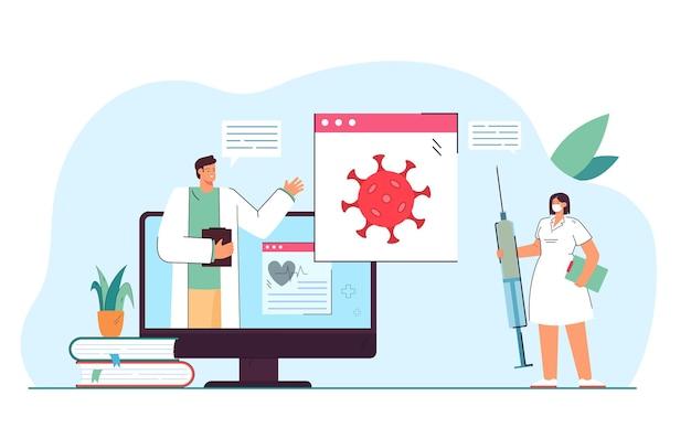 Medisch webinar over coronavirus. verpleegkundige met spuit kijken naar online lezing door arts vlakke afbeelding