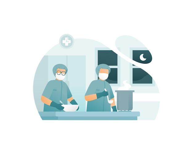 Medisch werker die voedsel kookt in de ziekenhuiskeuken
